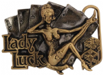 24ct. Gold and Silver Plated Lady Luck Belt Buckle with display stand